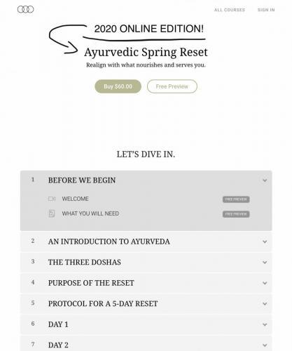 Ayurvedic spring reset 2020 online edition